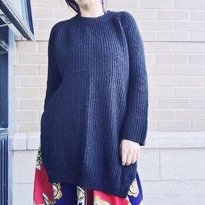 Zara long Black Sweater with Side Slits